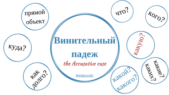 Endings of the accusative case in Russian